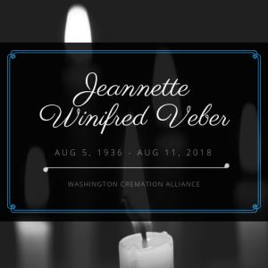 Jeannette Winifred Veber Obituary